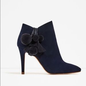 Zara Basic: Blue Suede Ankle Boot with Tassle